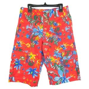 Carbon Tropical Print Cargo Shorts Mens Boys Sz 28